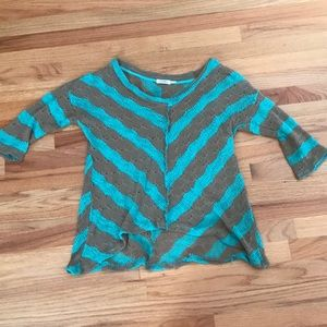 Turquoise and brown striped knitted shirt