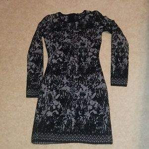 French Connection Black Gray Angora Mini Dress.