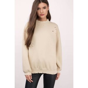 So Fresh Tan Distressed Sweater