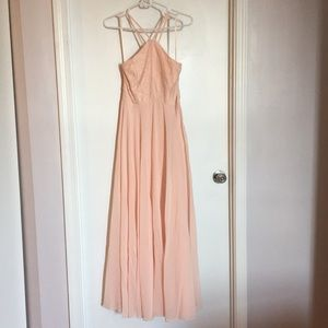 Light Pink Gown with Lace Top and Crossback