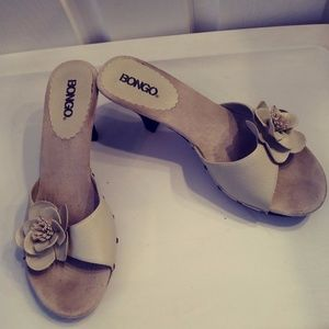 Bongo Tan Heels With Studs and Flower Backless 8