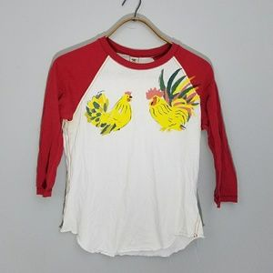 Lucky brand | chicken rooster baseball tee