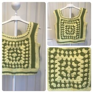 Vintage Granny Square Crocheted Crop Top