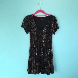 Velvety Skater Dress with Muted Animal Print