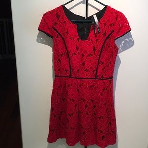 Kensie Red Lace Dress with Black Trim