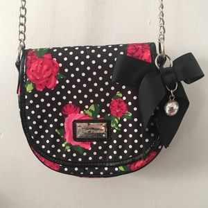 Betsey Johnson polka dot and rose small hip bag