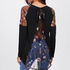 Tops - Lace back/bow/shoulder Black T