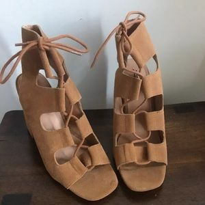 NWOT Urban Outfitters Suede Lace Up heel sandals