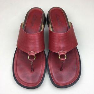 Clarks Red Leather Band Sandals Heeled Flip Flops