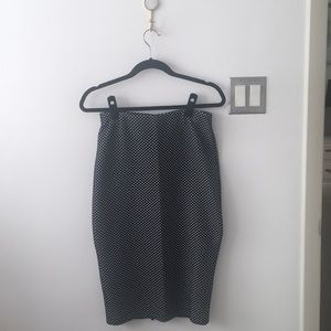 H&M midi skirt dots Black and White