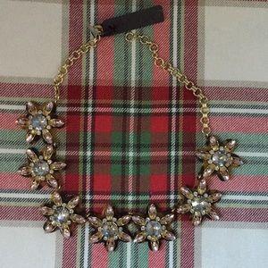 J Crew Tortoise & Crystal Fancy Flower Necklace