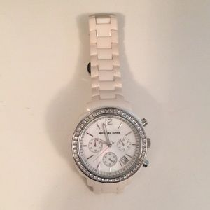Michael Kors white ceramic watch with crystal dial