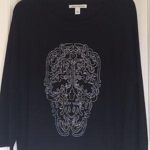 Autumn Cashmere black beaded skull sweater large