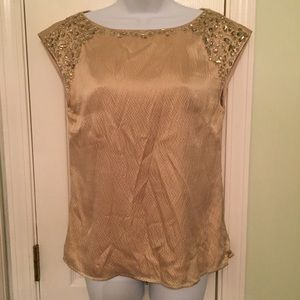 Antonio Melani Gold Beaded Silk Shirt