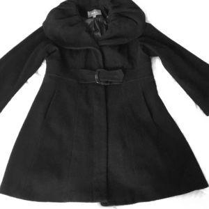 Black A-line cowl neck coat