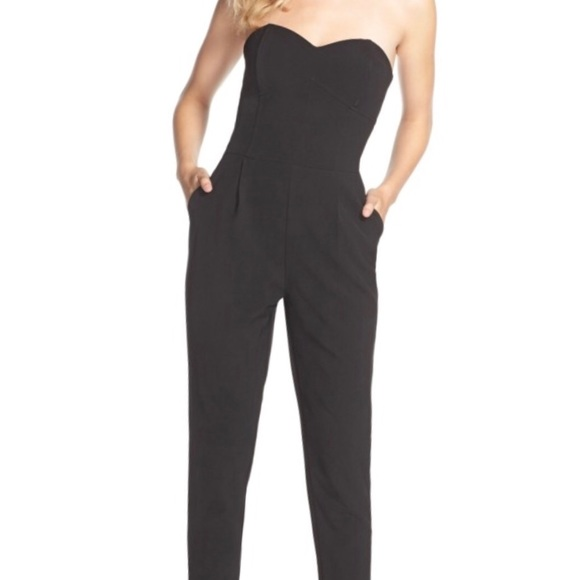 0d72689e5404 Adelyn Rae Pants - Black jumpsuit with sweetheart neckline