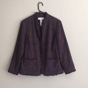 Purple Plaid Jacket Blazer w Hook Closures