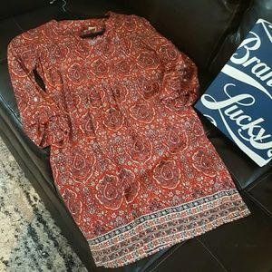 Lucky Brand tunic style box dress long sleeve