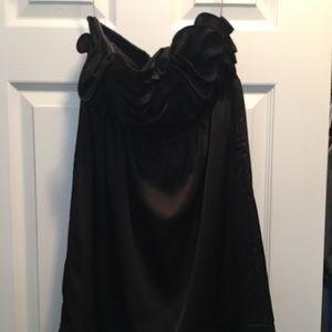 Strapless black satin rosette cocktail dress
