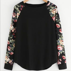 Tops - Baseball style Top w/floral sleeves