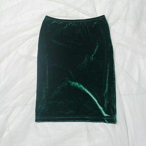 American apparel green velvet skirt