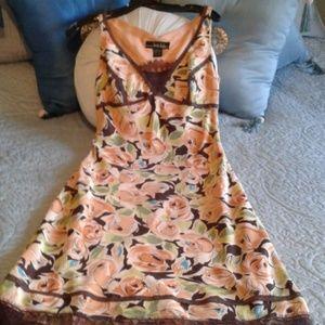 100% Silk Peach & Brown Dress