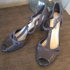 Franco Sarto t-strap suede and leather heels