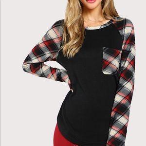 Tops - Red Plaid pocket black  T