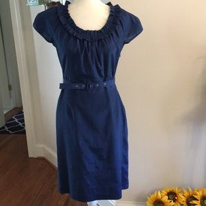 The Limited blue ruffled neckline belted dress