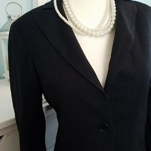 BCBG black pin stripe 2 button work blazer