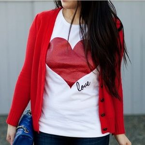 """♡V-DAY SALE♡  shimmery red heart """"LOVE"""" T-shirt"""