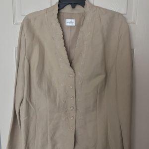 Linen embroidered blazer