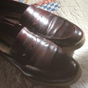 Zara Trafaluc Leather Burgundy Penny Loafers