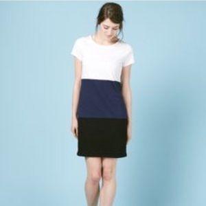 Boden Blue Black White Color Block T Shirt Dress