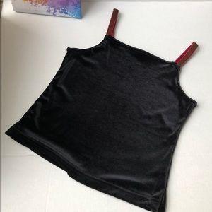 Black Velvet Crop Top with Burgundy straps