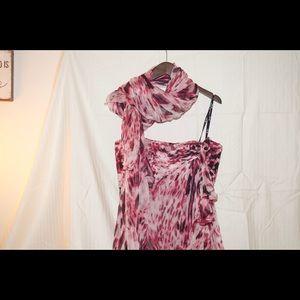 Tadashi Shoji layered Chiffon strapless gown