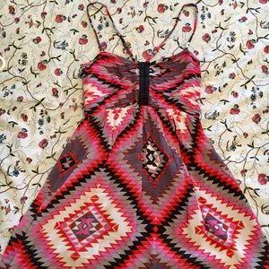 Billabong aztec-design dress w/criss-cross straps