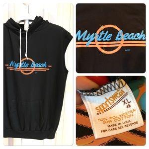 Vtg 80s Myrtle Beach Hooded muscle tee