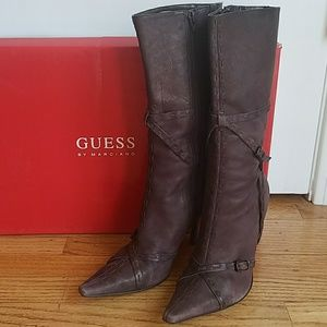 Guess Mid Calf Leather Boots