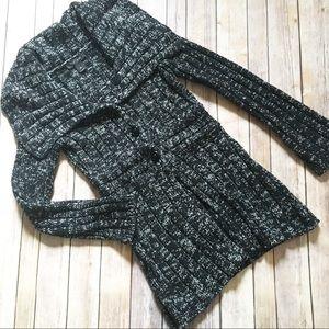 WHBM chunky shawl collar marl knit cardigan