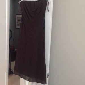 J. Crew dark brown strapless a-line cotton dress
