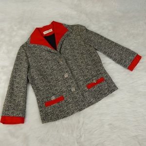 Vintage 60s Black & Red Knit Blazer
