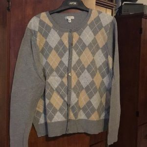 Grey argyle sweater