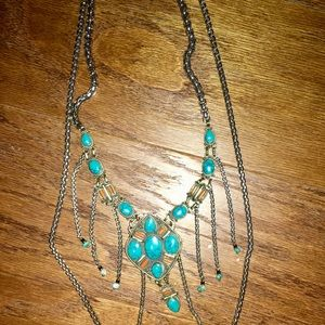 Free People silver necklace turquoise and coral