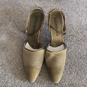 Vintage YSL gold sandals