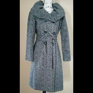 Calvin Klein Animal Print Wool Blend Trench Coat