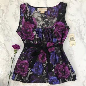 NWT Michael Kors floral gift blouse tank top silk