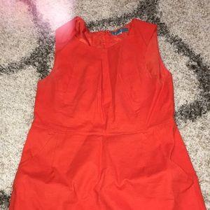 Pim + Larkin Orange Cotton Sheath Dress Pockets M