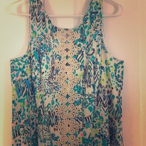 New Lilly Pulitzer Gold Lace Shift Dress