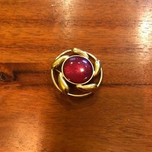 Jewelry - Vintage Christmas Gold Red Brooch Necklace Pendant